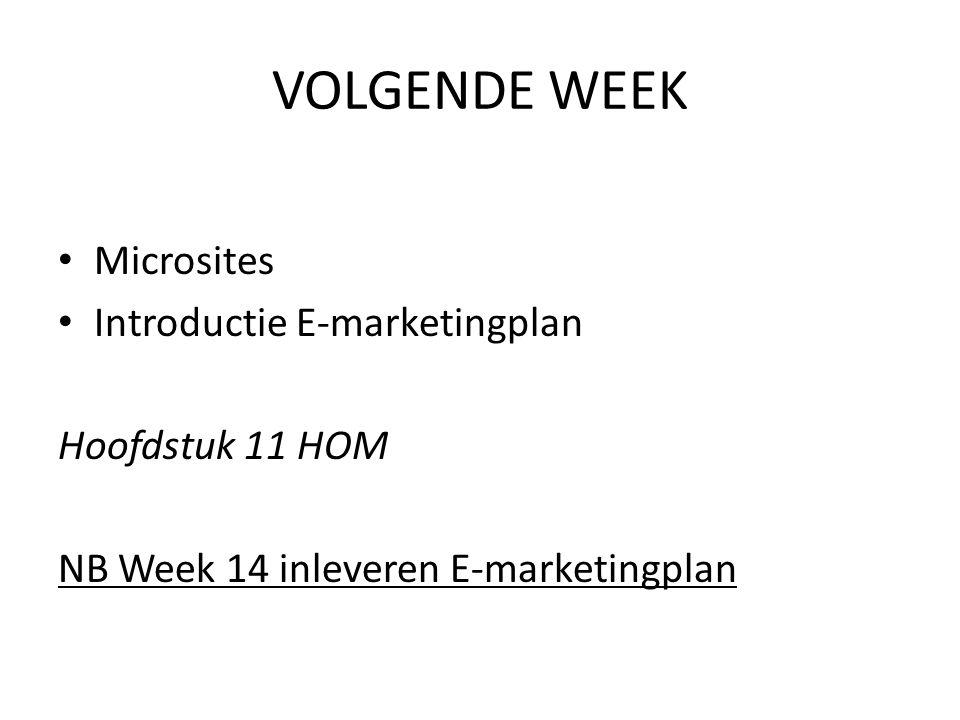 VOLGENDE WEEK Microsites Introductie E-marketingplan Hoofdstuk 11 HOM NB Week 14 inleveren E-marketingplan