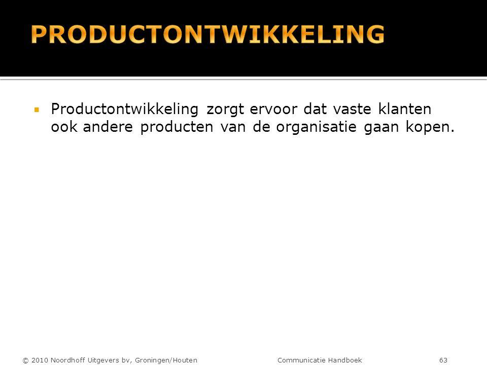  Productontwikkeling zorgt ervoor dat vaste klanten ook andere producten van de organisatie gaan kopen. © 2010 Noordhoff Uitgevers bv, Groningen/Hout
