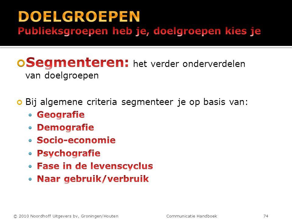 © 2010 Noordhoff Uitgevers bv, Groningen/Houten Communicatie Handboek 74