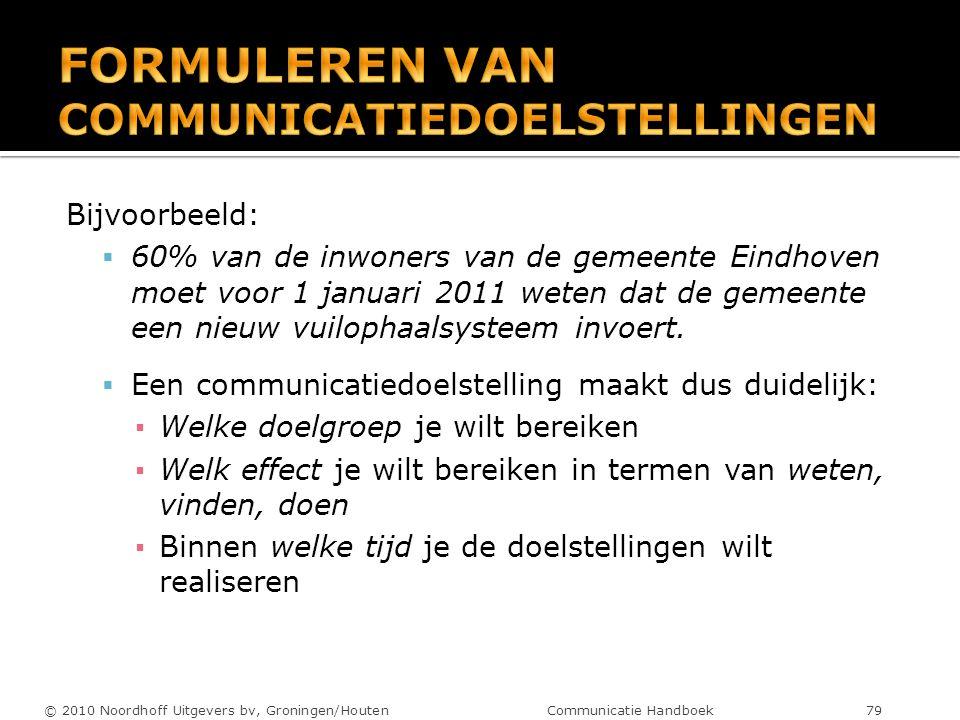 Bijvoorbeeld:  60% van de inwoners van de gemeente Eindhoven moet voor 1 januari 2011 weten dat de gemeente een nieuw vuilophaalsysteem invoert.  Ee