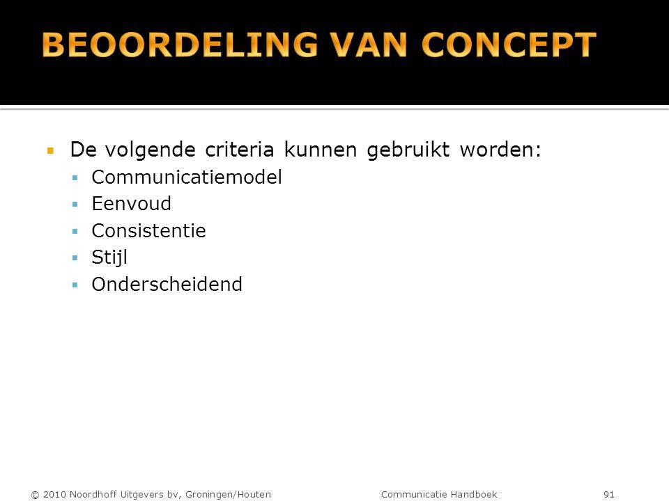  De volgende criteria kunnen gebruikt worden:  Communicatiemodel  Eenvoud  Consistentie  Stijl  Onderscheidend © 2010 Noordhoff Uitgevers bv, Gr