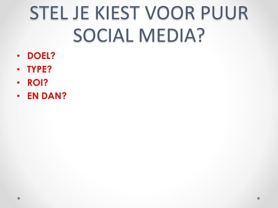 STEL JE KIEST VOOR PUUR SOCIAL MEDIA? DOEL? TYPE? ROI? EN DAN?