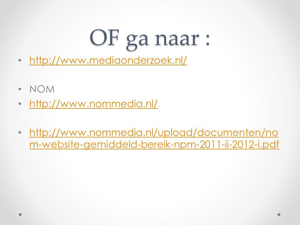 OF ga naar : http://www.mediaonderzoek.nl/ NOM http://www.nommedia.nl/ http://www.nommedia.nl/upload/documenten/no m-website-gemiddeld-bereik-npm-2011-ii-2012-i.pdf http://www.nommedia.nl/upload/documenten/no m-website-gemiddeld-bereik-npm-2011-ii-2012-i.pdf