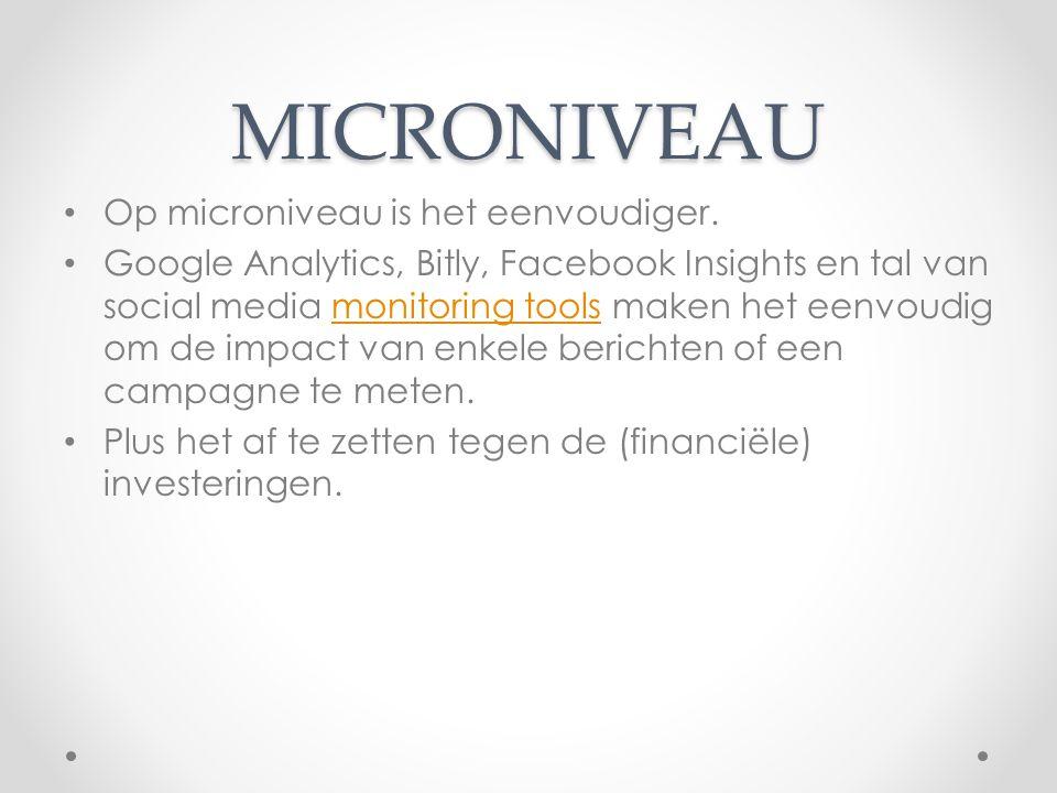 MICRONIVEAU Op microniveau is het eenvoudiger. Google Analytics, Bitly, Facebook Insights en tal van social media monitoring tools maken het eenvoudig