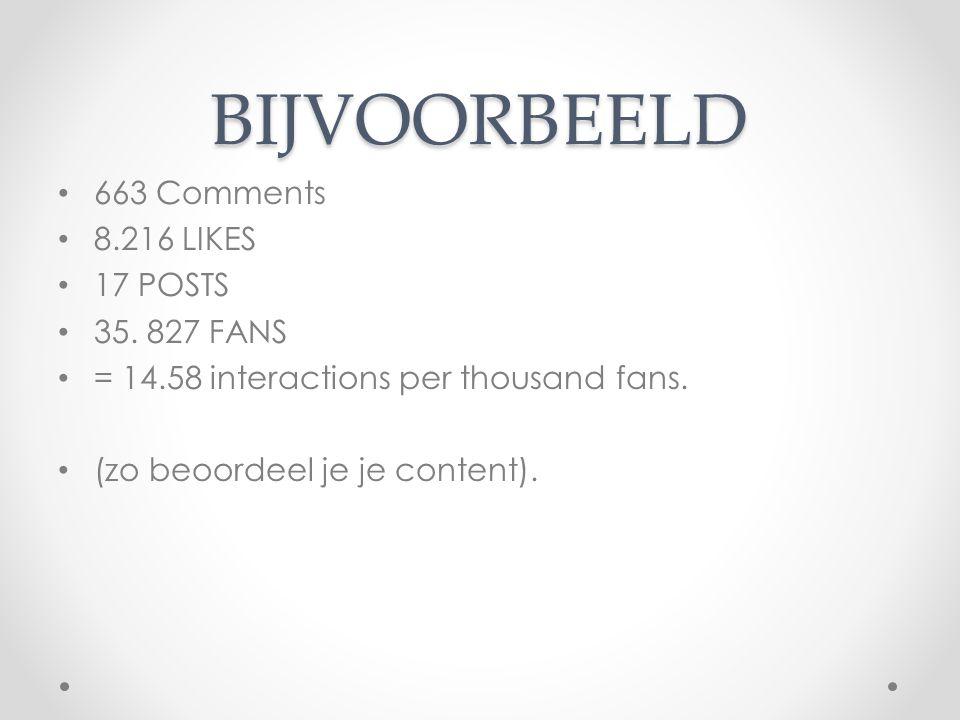 BIJVOORBEELD 663 Comments 8.216 LIKES 17 POSTS 35. 827 FANS = 14.58 interactions per thousand fans. (zo beoordeel je je content).