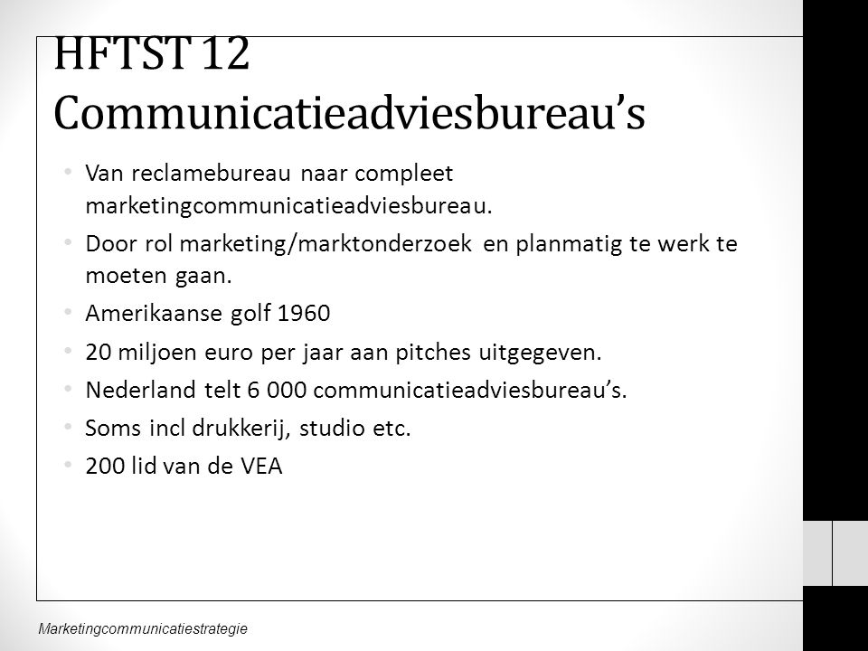 HFTST 12 Communicatieadviesbureau's Van reclamebureau naar compleet marketingcommunicatieadviesbureau. Door rol marketing/marktonderzoek en planmatig