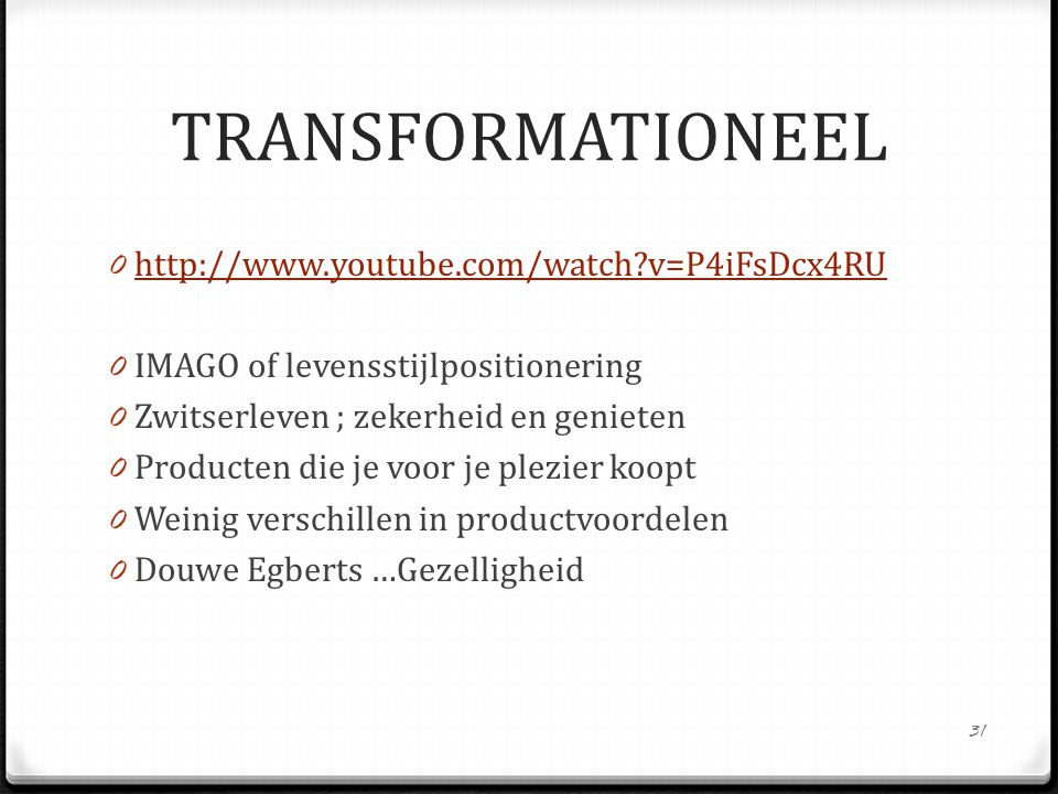 0 http://www.youtube.com/watch?v=P4iFsDcx4RU http://www.youtube.com/watch?v=P4iFsDcx4RU 0 IMAGO of levensstijlpositionering 0 Zwitserleven ; zekerheid