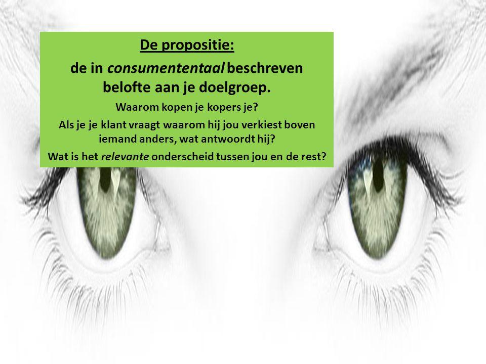 De propositie: de in consumententaal beschreven belofte aan je doelgroep. Waarom kopen je kopers je? Als je je klant vraagt waarom hij jou verkiest bo