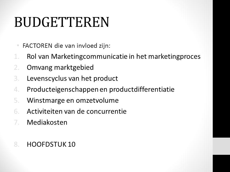 BUDGETTEREN FACTOREN die van invloed zijn: 1.Rol van Marketingcommunicatie in het marketingproces 2.Omvang marktgebied 3.Levenscyclus van het product