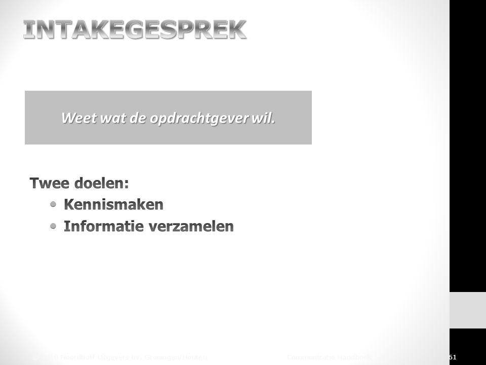 © 2010 Noordhoff Uitgevers bv, Groningen/Houten Communicatie Handboek 61 Weet wat de opdrachtgever wil.