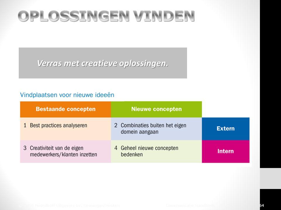 © 2010 Noordhoff Uitgevers bv, Groningen/Houten Communicatie Handboek 64 Verras met creatieve oplossingen.