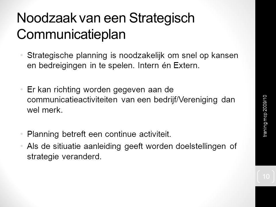 Noodzaak van een Strategisch Communicatieplan Strategische planning is noodzakelijk om snel op kansen en bedreigingen in te spelen. Intern én Extern.