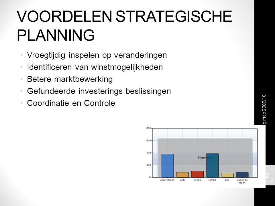 VOORDELEN STRATEGISCHE PLANNING Vroegtijdig inspelen op veranderingen Identificeren van winstmogelijkheden Betere marktbewerking Gefundeerde investerings beslissingen Coordinatie en Controle traning mcp 2009/10 12