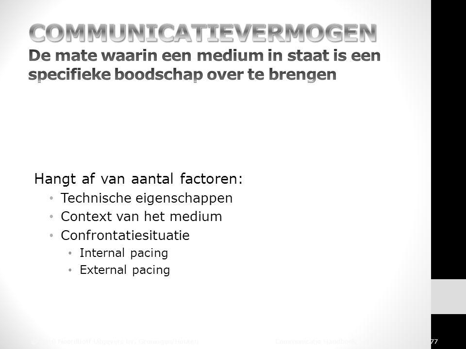 Hangt af van aantal factoren: Technische eigenschappen Context van het medium Confrontatiesituatie Internal pacing External pacing © 2010 Noordhoff Ui