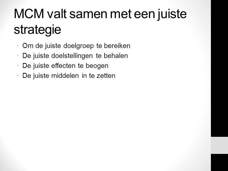 MCM valt samen met een juiste strategie Om de juiste doelgroep te bereiken De juiste doelstellingen te behalen De juiste effecten te beogen De juiste middelen in te zetten
