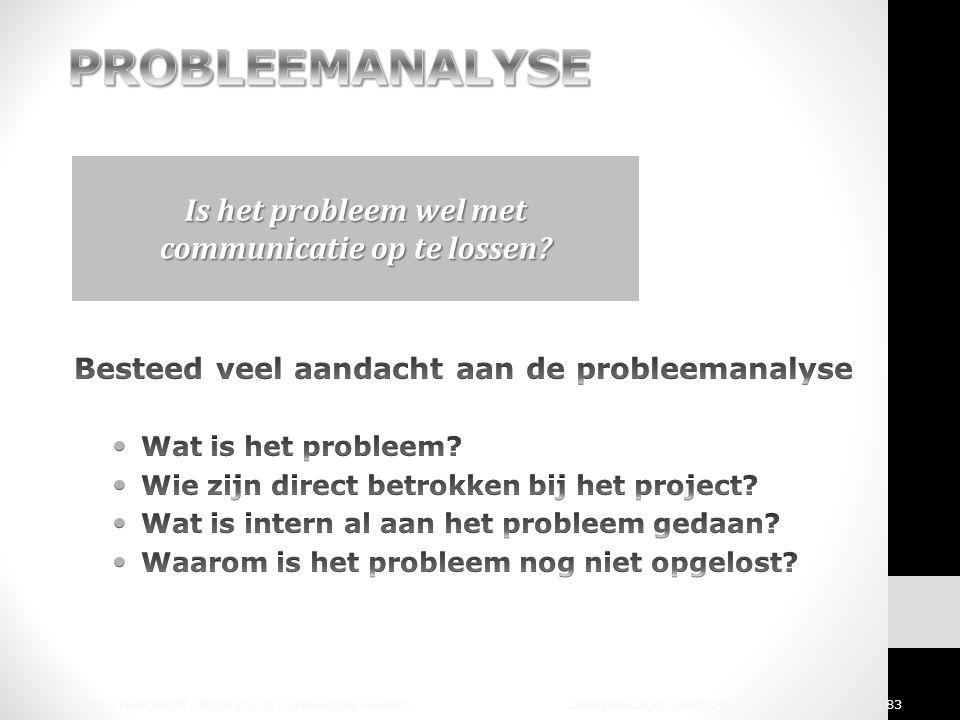 © 2010 Noordhoff Uitgevers bv, Groningen/Houten Communicatie Handboek 83 Is het probleem wel met communicatie op te lossen?