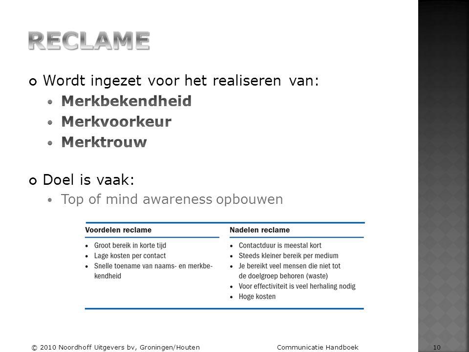 © 2010 Noordhoff Uitgevers bv, Groningen/Houten Communicatie Handboek 10