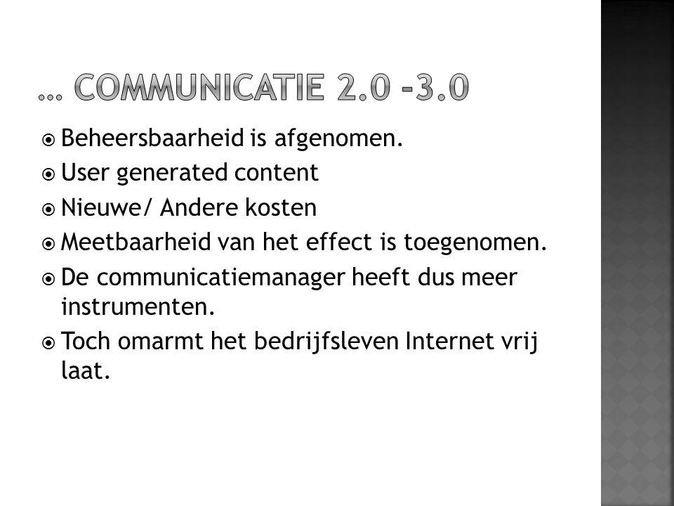  Beheersbaarheid is afgenomen.  User generated content  Nieuwe/ Andere kosten  Meetbaarheid van het effect is toegenomen.  De communicatiemanager