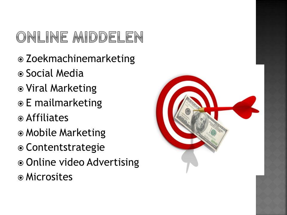  Zoekmachinemarketing  Social Media  Viral Marketing  E mailmarketing  Affiliates  Mobile Marketing  Contentstrategie  Online video Advertisin