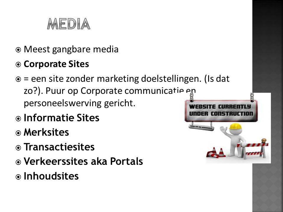  Meest gangbare media  Corporate Sites  = een site zonder marketing doelstellingen. (Is dat zo?). Puur op Corporate communicatie en personeelswervi