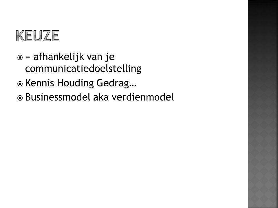  = afhankelijk van je communicatiedoelstelling  Kennis Houding Gedrag…  Businessmodel aka verdienmodel