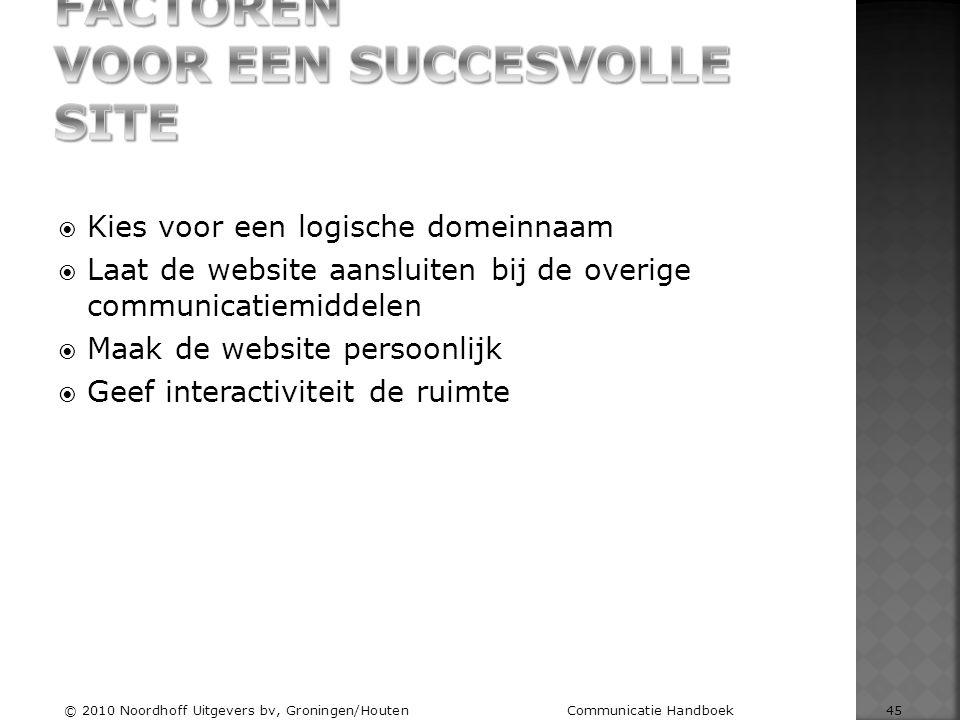  Kies voor een logische domeinnaam  Laat de website aansluiten bij de overige communicatiemiddelen  Maak de website persoonlijk  Geef interactivit