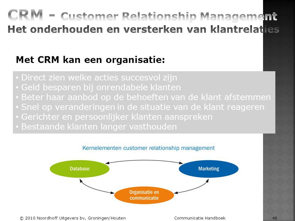 Met CRM kan een organisatie: Direct zien welke acties succesvol zijn Geld besparen bij onrendabele klanten Beter haar aanbod op de behoeften van de kl