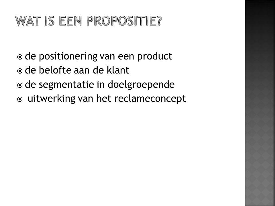  de positionering van een product  de belofte aan de klant  de segmentatie in doelgroepende  uitwerking van het reclameconcept