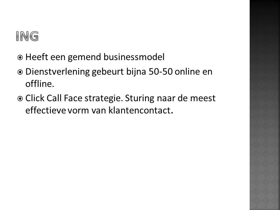  Heeft een gemend businessmodel  Dienstverlening gebeurt bijna 50-50 online en offline.  Click Call Face strategie. Sturing naar de meest effectiev