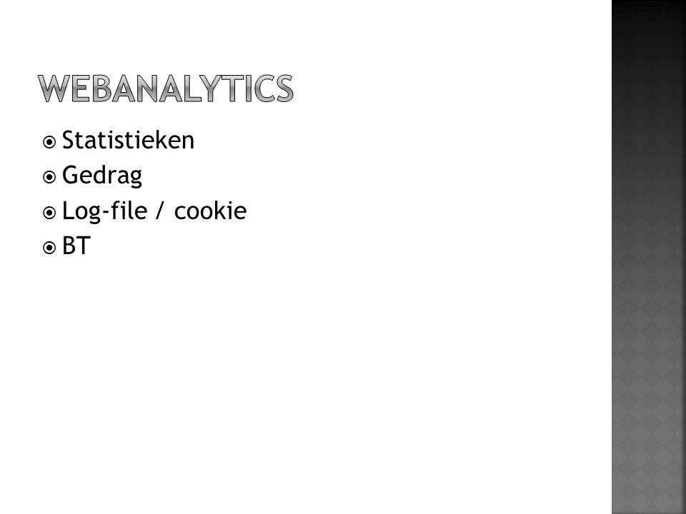  Statistieken  Gedrag  Log-file / cookie  BT