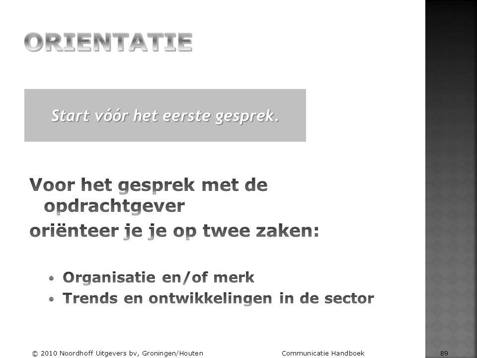 Start vóór het eerste gesprek. © 2010 Noordhoff Uitgevers bv, Groningen/Houten Communicatie Handboek 89