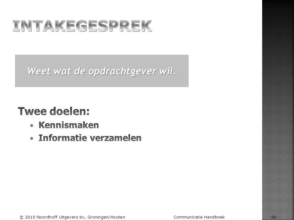 Weet wat de opdrachtgever wil. © 2010 Noordhoff Uitgevers bv, Groningen/Houten Communicatie Handboek 90