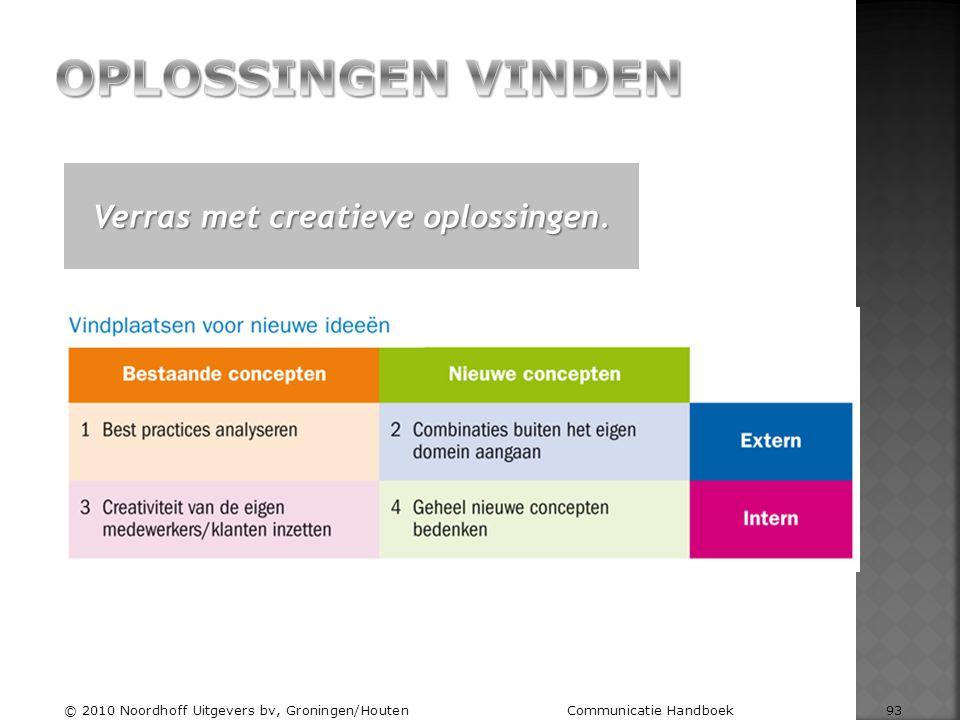 Verras met creatieve oplossingen. © 2010 Noordhoff Uitgevers bv, Groningen/Houten Communicatie Handboek 93