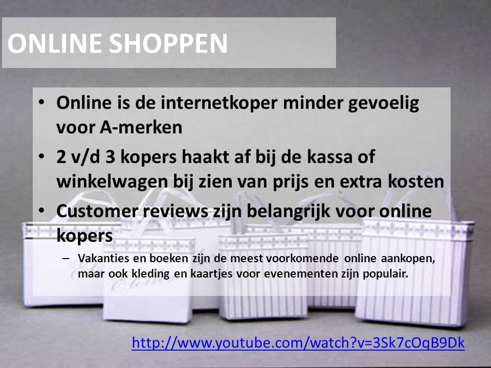 ONLINE SHOPPEN Online is de internetkoper minder gevoelig voor A-merken 2 v/d 3 kopers haakt af bij de kassa of winkelwagen bij zien van prijs en extr