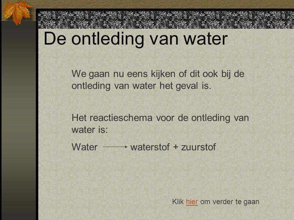 De ontleding van water We gaan nu eens kijken of dit ook bij de ontleding van water het geval is.