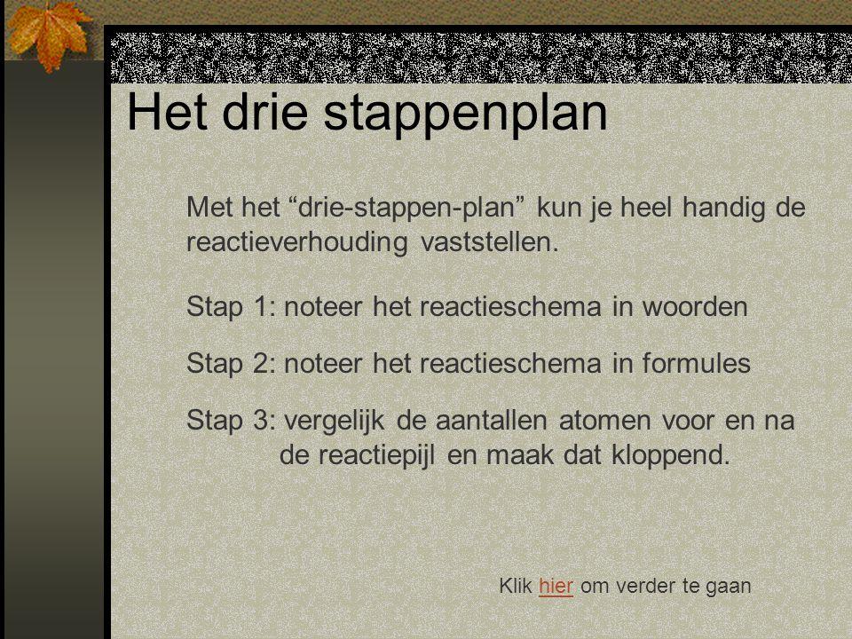 Het drie stappenplan Met het drie-stappen-plan kun je heel handig de reactieverhouding vaststellen.