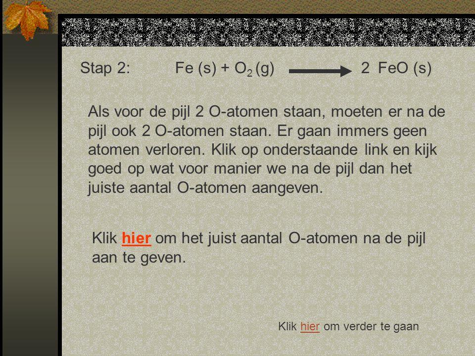 Stap 2:Fe (s) + O 2 (g) FeO (s) Als voor de pijl 2 O-atomen staan, moeten er na de pijl ook 2 O-atomen staan.