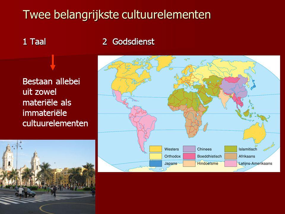 Twee belangrijkste cultuurelementen 1 Taal 2 Godsdienst Bestaan allebei uit zowel materiële als immateriële cultuurelementen