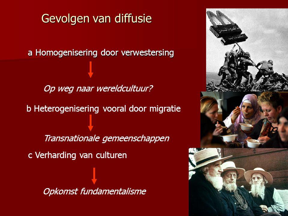 Gevolgen van diffusie a Homogenisering door verwestersing a Homogenisering door verwestersing Op weg naar wereldcultuur? b Heterogenisering vooral doo