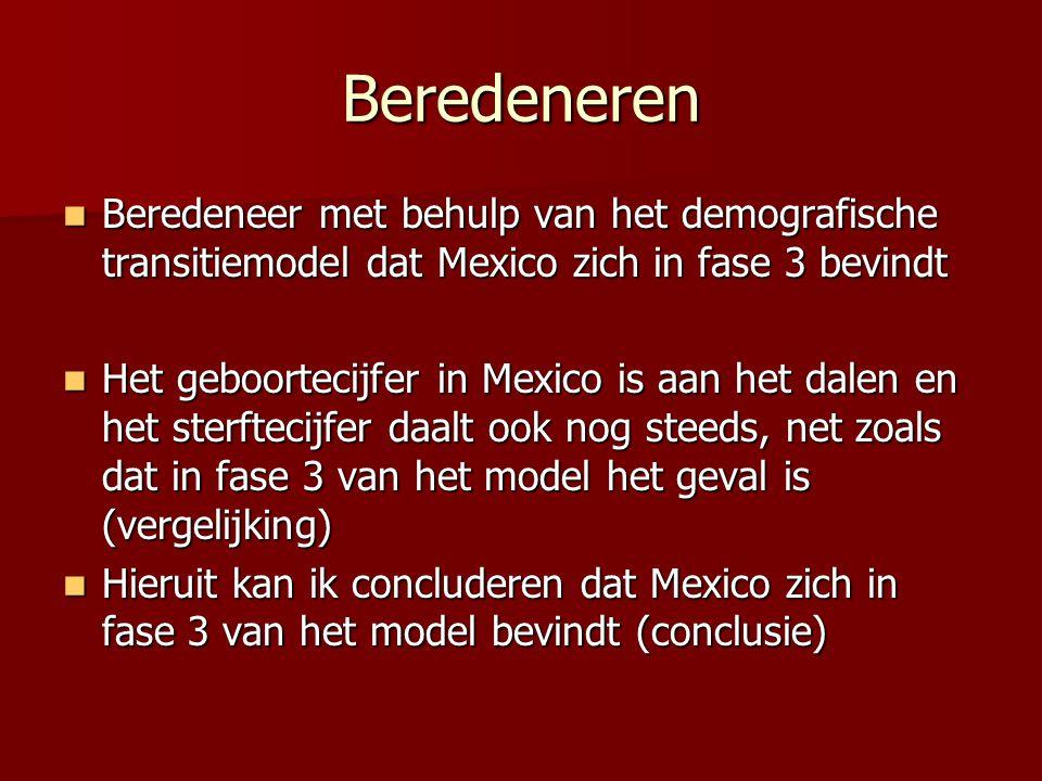 Beredeneren Beredeneer met behulp van het demografische transitiemodel dat Mexico zich in fase 3 bevindt Beredeneer met behulp van het demografische t