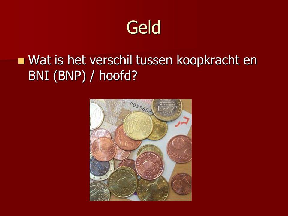 Geld Wat is het verschil tussen koopkracht en BNI (BNP) / hoofd? Wat is het verschil tussen koopkracht en BNI (BNP) / hoofd?