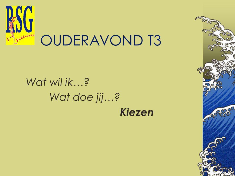 OUDERAVOND T3 Wat wil ik…? Wat doe jij…? Kiezen