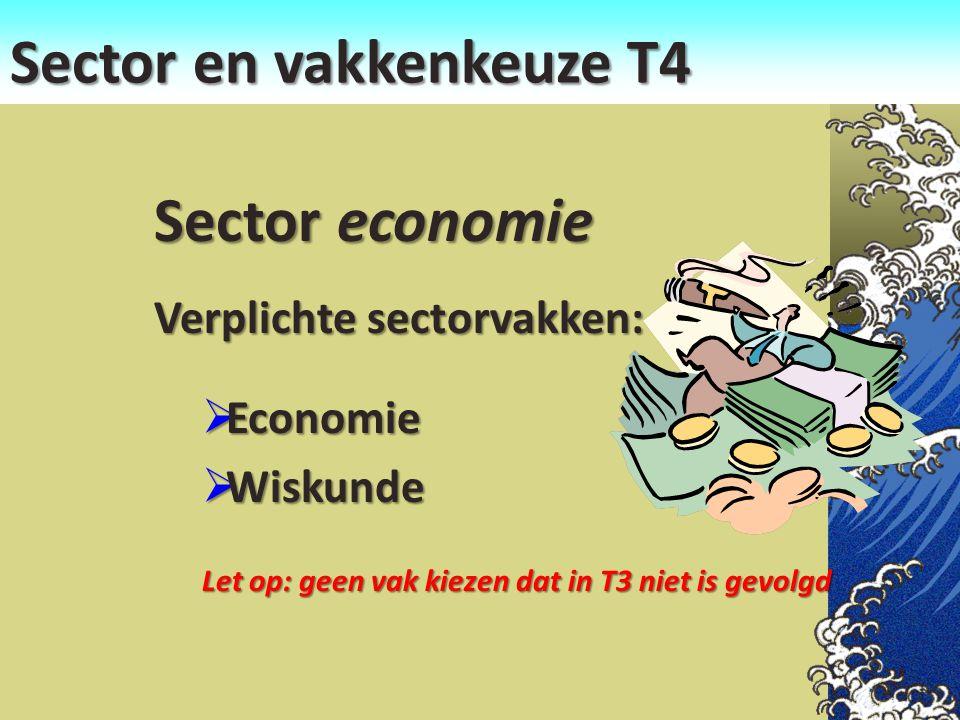 Sector en vakkenkeuze T4 Sector economie Verplichte sectorvakken:  Economie  Wiskunde Let op: geen vak kiezen dat in T3 niet is gevolgd
