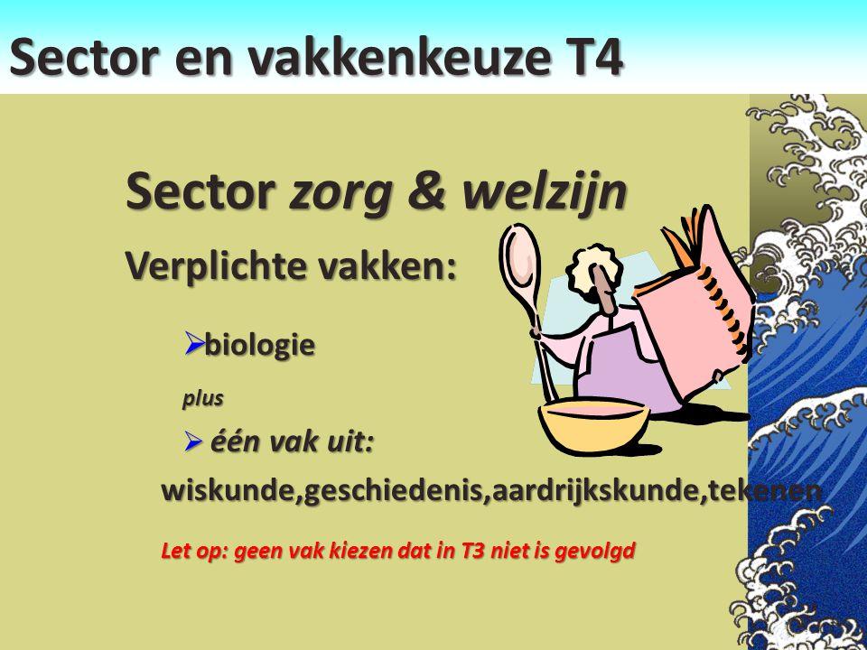 Sector en vakkenkeuze T4 Sector zorg & welzijn Sector zorg & welzijn Verplichte vakken:  biologie plus  één vak uit: wiskunde,geschiedenis,aardrijks