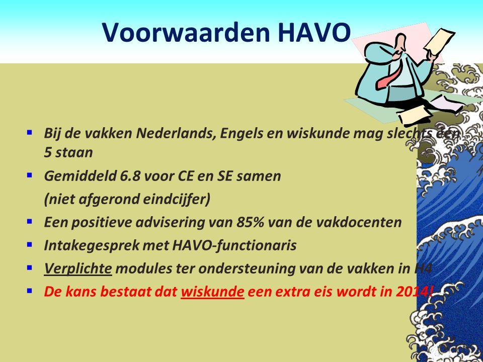 Voorwaarden HAVO  Bij de vakken Nederlands, Engels en wiskunde mag slechts één 5 staan  Gemiddeld 6.8 voor CE en SE samen (niet afgerond eindcijfer)