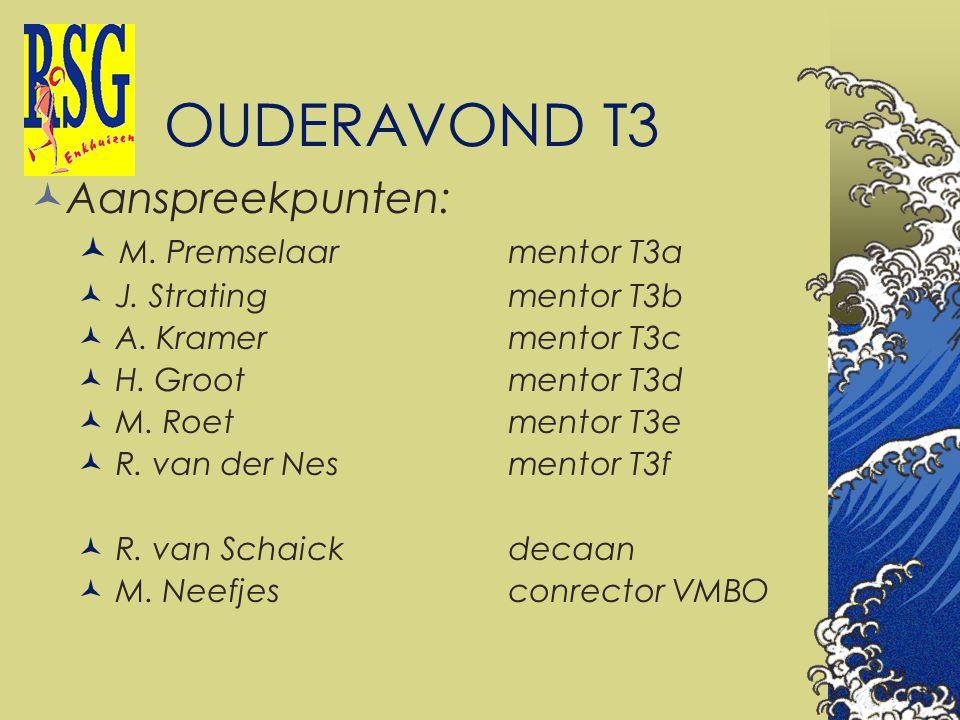 OUDERAVOND T3 Aanspreekpunten: M. Premselaarmentor T3a J. Stratingmentor T3b A. Kramermentor T3c H. Grootmentor T3d M. Roetmentor T3e R. van der Nesme