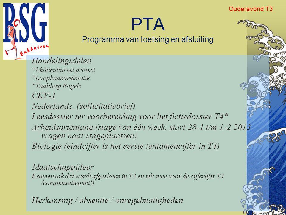 PTA Programma van toetsing en afsluiting Handelingsdelen *Multicultureel project *Loopbaanoriëntatie *Taaldorp Engels CKV-1 Nederlands (sollicitatiebr