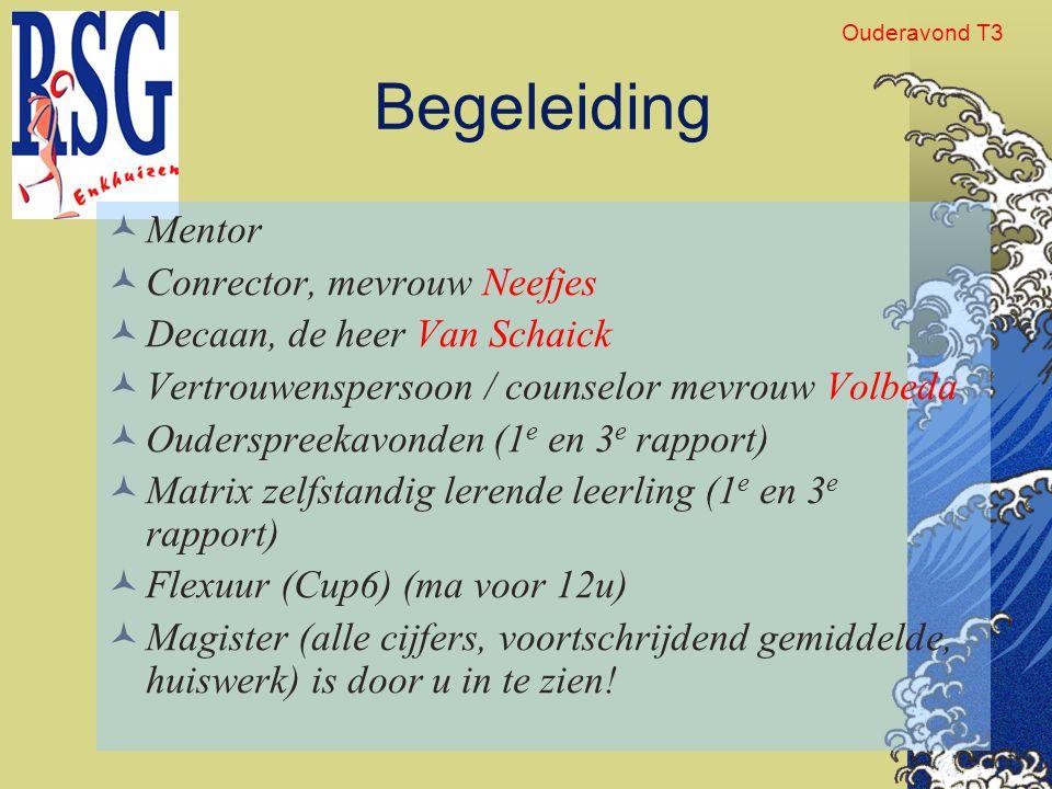 Begeleiding Mentor Conrector, mevrouw Neefjes Decaan, de heer Van Schaick Vertrouwenspersoon / counselor mevrouw Volbeda Ouderspreekavonden (1 e en 3
