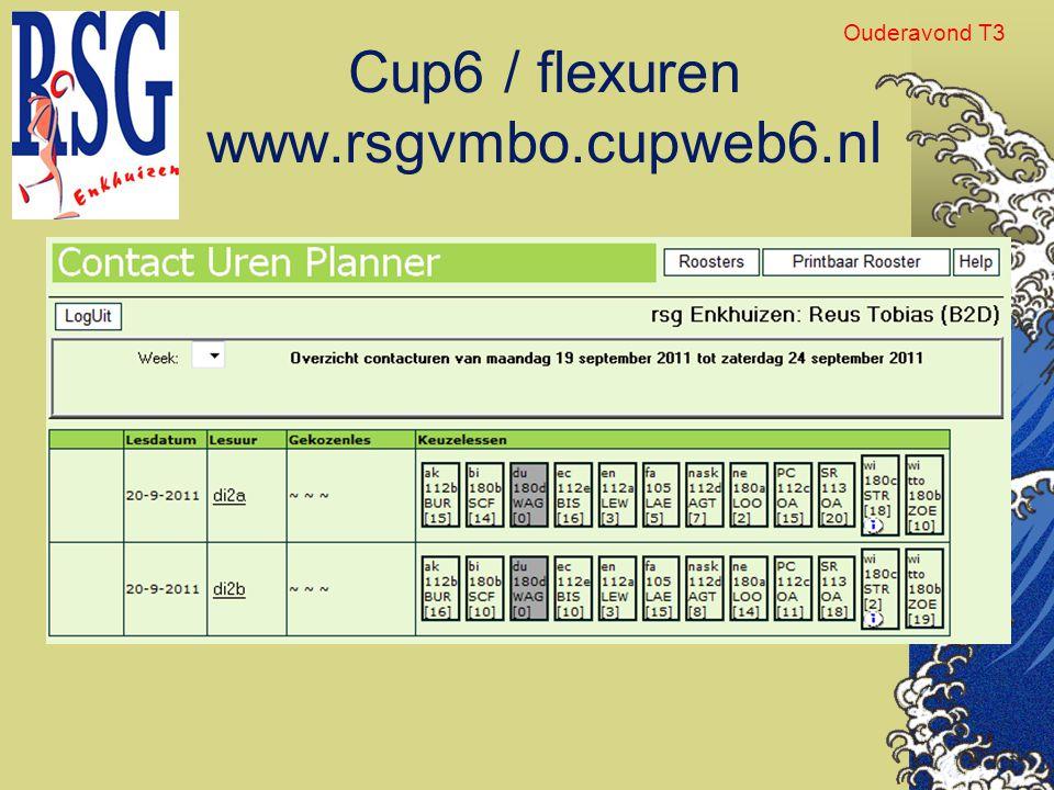 Cup6 / flexuren www.rsgvmbo.cupweb6.nl Ouderavond T3