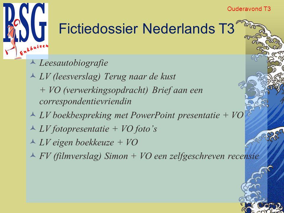 Fictiedossier Nederlands T3 Leesautobiografie LV (leesverslag) Terug naar de kust + VO (verwerkingsopdracht) Brief aan een correspondentievriendin LV